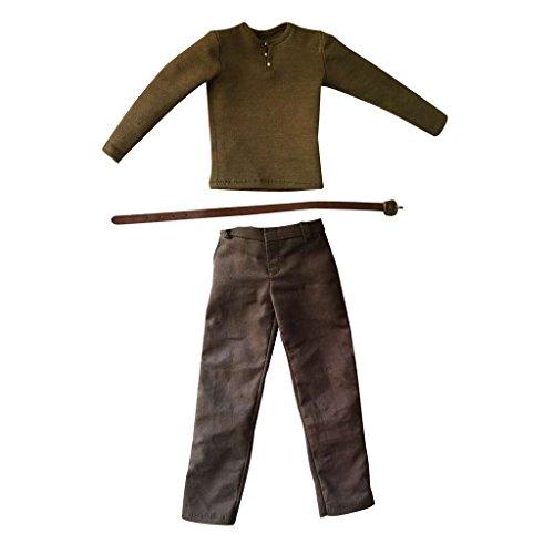 MagiDeal 1/6 Puppenkleidung Satz - Langarm T-Shirt + Hosen + Gürtel - Puppenzubehör für 12 Zoll Männer Action Figur Dress up - (Für Dress Up Männer)