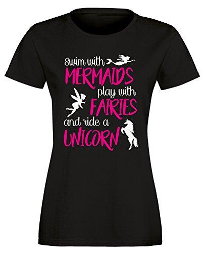 Swim with Mermaids play with Fairies and ride a Unicorn - Schwimme mit Meerjungfrauen spiele mit Elfen und reite ein Einhorn - Damen Rundhals T-Shirt Schwarz/Weiss-neonpink