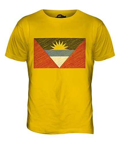 CandyMix Antigua Und Barbuda Kritzelte Flagge Herren T Shirt Dunkelgelb