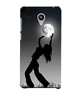 Takkloo Grey background ( Girl in dark, Girl holding the moon, shiny moon) Printed Designer Back Case Cover for Meizu M3 Note :: Meizu Note 3