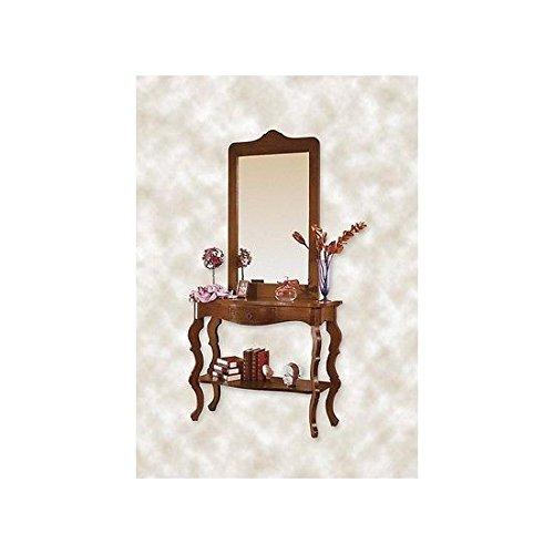 Estea mobili - tavolo legno consolle e specchio ingresso arte povera col.noce mobile italiano - 111112618070