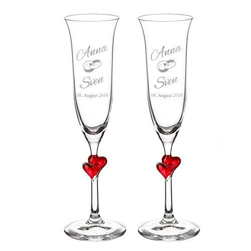 """Copas De Champán Con Grabado – Copas Con Corazón Rojo - Set Boda De 2 Piezas – """"Anillos de Boda"""" – Personalizado Con [Nombre] Y [Fecha] – Regalos Para El San Valentín – Ideas De Regalos De Boda"""
