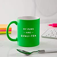 "Funny Mug gift idea for men - Secret Santa Gift for him under £10 /""Quali-tea"" pun - coloured mug in choice of Green, Blue, Orange or Pink/xmas birthday present"