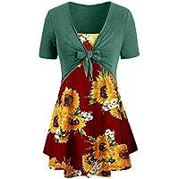 showsing-women clothes Elegante Camiseta con Estampado de Girasoles, Estilo Casual, con Estampado de Flores Bohemias, con Lazo y Nudo