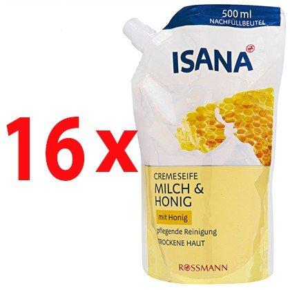ISANA Cremeseife Milch & Honig Nachfüllbeutel 500 ml, 16er Pack(16x500ml)