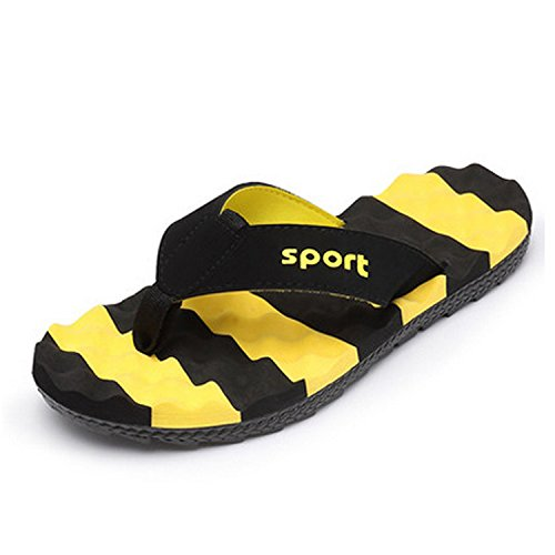 CHNHIRA Men's Summer Flip-Flops Sandal(8.5UK, Yellow)