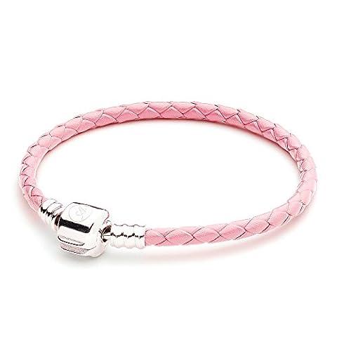 athenaie pink seul en cuir tressée 925 sterling silver snap fermoir bracelet charme européen correspond à tous 17 cm (17 cm = 6.69inch)
