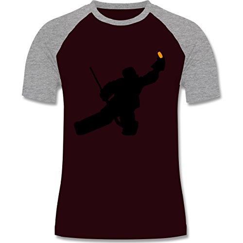 Eishockey - Towart Eishockey Eishockeytorwart - zweifarbiges Baseballshirt für Männer Burgundrot/Grau meliert