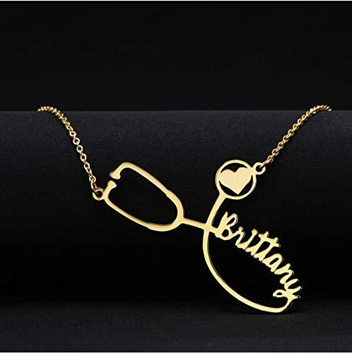 ksufnjekls Benutzerdefinierte Krankenschwester Benutzerdefinierten Namen Halskette Stethoskop Gravierte Halskette Abschlussgeschenk