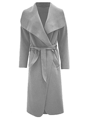 Janisramone femmes célébrité cascade drapé ceinturé fashion veste abaya manches longues Cap Gris
