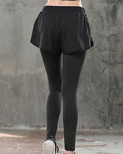 Donna Slim Fit Pantaloni Da Lunga Falsi Due Pezzi Pantaloni Da Sportivi Nero