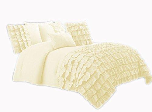 SCALABEDDING Wasserfall Media Rüschen Bettbezug 500TC ägyptische Baumwolle König weiß -