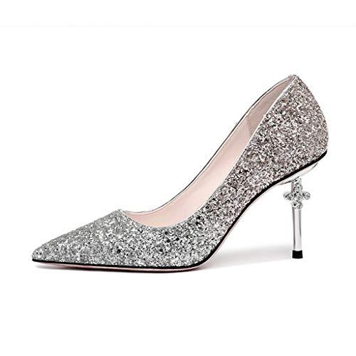 Scarpe da Donna, Famose Scarpe da Donna con Paillettes e Tacchi a Spillo,B,35