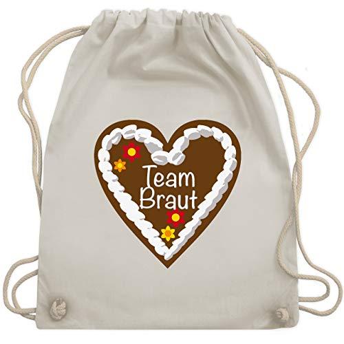 JGA Junggesellinnenabschied - Lebkuchenherz Team Braut - Unisize - Naturweiß - WM110 - Turnbeutel & Gym - Der Junggesellinnen Kostüm