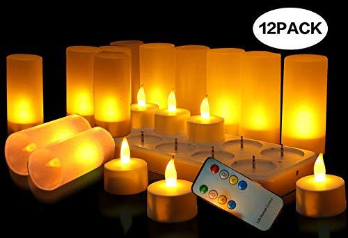 Wiederaufladbare LED Teelichter Flammenlose Kerzen Kabellose Teelichter Mit Fernbedienung LED-Weihnachtskerzen, Kerzenlichter mit Ladestation, Für Party Hochzeit Hausgarten Outdoor Innendekoration