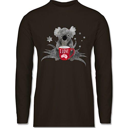 Kontinente - I love Australien Koala - Longsleeve / langärmeliges T-Shirt für Herren Braun
