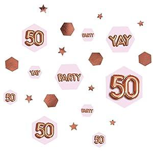 Neviti 773444Glitz y Glamour edad 50confeti mesa Scatters, Rosa/Oro rosa
