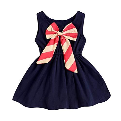 Frashing Kleinkind-Baby-Mädchen-Ärmellose Streifen-Bogen-Knoten-Tanzparty-Prinz Gestreifter Bogen Solide Casual Kleid