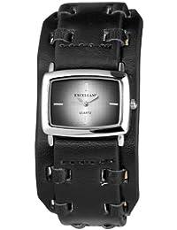 Excellanc 295021000107 - Reloj analógico de cuarzo para mujer con correa de piel, color negro