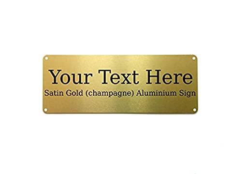 Custom Personalised Your Text Champagne Metal Aluminium Sign Door Plaque House (Gold, 200x75mm 4 Screw Holes)