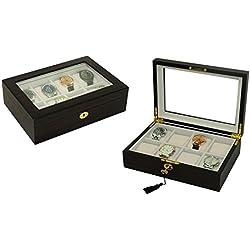 Luxuriöse Uhrenbox von Woolux für 8 Uhren mahagonifarben extra breite Fächer Echtglas