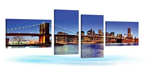 r Night View 4Panels Modern Landschaft Artwork Leinwand Prints Schöne citycape Wandbild Ölgemälde auf Leinwand Kunst für Home Dekorationen Wand Decor ()