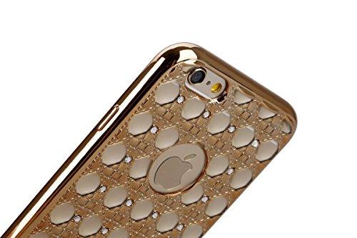 iPhone 6S Hülle, iPhone 6 Hülle, iPhone 6 / 6S Silikon 3D Transparent Case Hülle, SainCat Weiche Kratzfeste Silikon Girl-Serie Muster Hülle Schutzhülle mit Glitter Diamant TPU Bumper Soft Gel Case Bac Plattierung-Golden