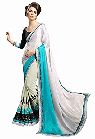 Shopper Box Women White Georgette Heavy Border Saree (SKU-SAI-1255)