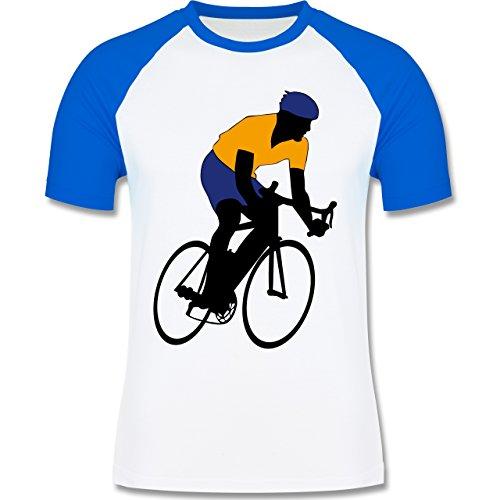 Radsport - Rennradfahrer - zweifarbiges Baseballshirt für Männer Weiß/Royalblau