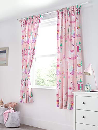 Bloomsbury mill - unicorno magico, principessa delle fiabe e castello incantato - rosa - coppia di tende foderate per bambini con fermatenda - 168 cm x 183 cm