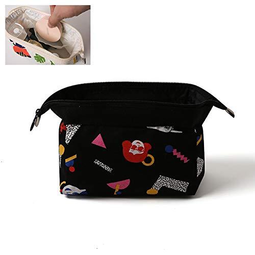 Xiton 1PC Multifunktions-Make-up-Tasche Leinwand-Kosmetik-Beutel-netten Spielraum-Wäsche-Beutel mit Reißverschluss-Spielraum-Speicher-Organizer Portable Tasche (Schwarz)