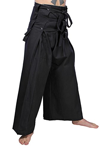 Klassische Samurai Hose aus Baumwolle LARP japanische Ninja Hose verschiedene Farben XS/S M/L oder XL (M/L, Schwarz/Grau)