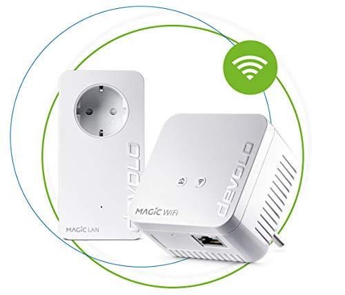 devolo Magic 1 WiFi mini: Kompaktes Powerline Starter Kit für zuverlässiges WLAN einfach via Stromleitung durch Wände und Decken, Mesh, G.hn-Technologie, Gäste-WLAN