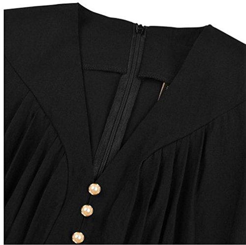 SMITHROAD Damenkleid A-Linie Schwingen Rockabilly Partykleid Freizeitkleid V-Ausschnitt 3/4 Ärmel Knielang Gr. 36 bis 46 Schwarz