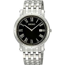 Seiko Men's Bracelet Watch SKP363P1 with Black Date Round Dial