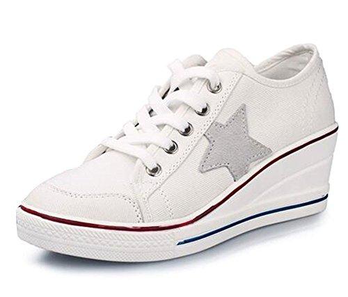 wealsex Baskets Mode Chaussure de Sport Sneakers Chaussures en Toile Chaussure Basse Noir Blanc étoile à Cinq Branches Femme
