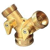Tech Traders® Hahnanschluss, 3/4 Zoll, 2-Wege-Adapter, Messing, Y-Form, zur Gartenbewässerung
