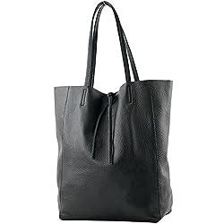 modamoda de - T163 - Ital. Shopper Schultertasche aus Leder, Farbe:Schwarz
