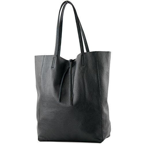modamoda de - T163 - Ital. Shopper mit Innentasche aus Leder, Farbe:Schwarz