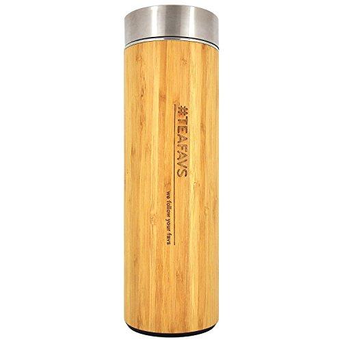 amapodo Thermobecher 500 ml aus Edelstahl Bambus BPA frei, doppelwandig Vakuum isoliert, auslaufsicher, Tee To Go Becher mit Teesieb, Reise...