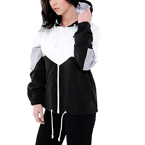 Geili Jacke Damen,Frauen Herbst Langarm Dünne Haut Anzug Mode Damen Farbe Block Patchwork mit Kapuze Sport Sweatshirt Zip Mantel Reißverschluss Windjacke Outwear
