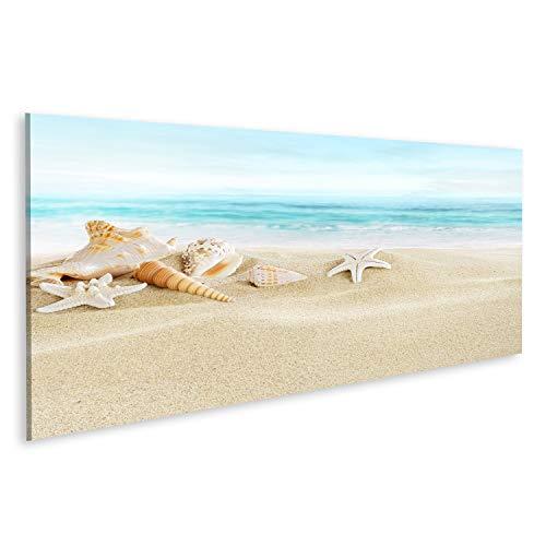 Bild Bilder auf Leinwand Muscheln am Sandstrand Wandbild Poster Leinwandbild SOJ (Muschel Bilder)