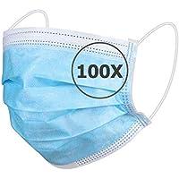 TBOC Protección Facial Desechable - [Pack 100 Unidades] [Color Azul] Antipolen Antipolvo Ligera Suave y Transpirable con Pinza Nasal No Reutilizable