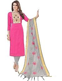 Women'S Pink Semi Stitched Embroidered Banglori Cotton Dress Material