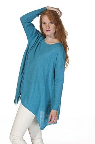 Alpaka-Damen-Tunika Pullover BETTY reines Baby Alpaka L/XL türkis (Damen Tunika Alpaka Pullover)