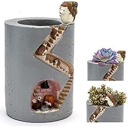 ChasBete Jolis Pots de Fleurs Plantes d'intérieur en hérisson - Jardin décoratif en résine Petits Pots de Plantes/Pots en Brosse réutilisables