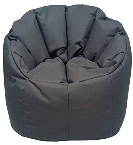 ANTARRIS Sitzkissen Sitzsack Beanbag Outdoor Hocker abwaschbares Outdoorspezialmaterial, Strapaziergeprüft Sitz-Sessel ø 60 H 80 cm bis 120 kg geeignet, versch Farben (grau-Basalt)