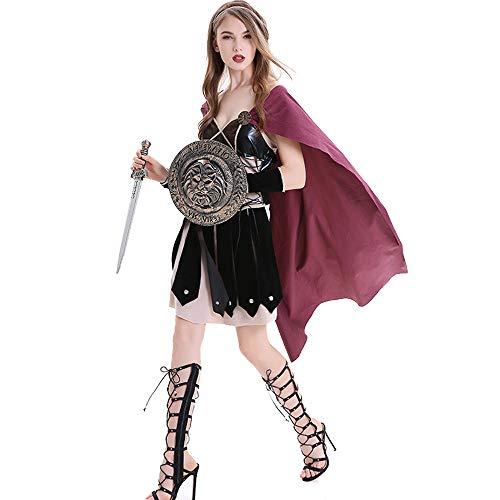 HYMZP Kostüm Damen, Halloween Adult Gladiator Krieger Cosplay Kostüm Rock, Karneval Samurai Kostüm Damenkostüm,L