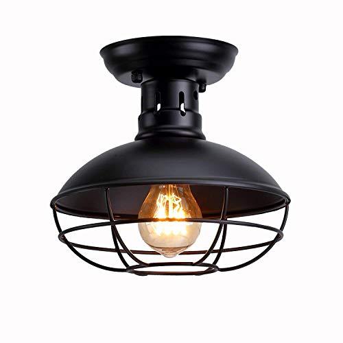 Retro Design Deckenleuchte Industrielle Stil Vintage Flurlampe Decken Beleuchtung Eisen Lampenschirm Schwarz Käfig Deckenlampe für Balkon Loft Korridor Schlafzimmer Kreative Antik Lampe E27 -