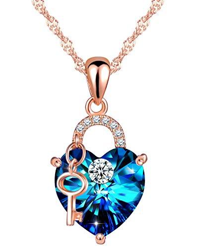 SIXLUO 925 Sterling Silber Kristall Zirkonia Damen Halskette Blau Herz Schloss Schlüssel Anhänger mit Swarovski Steinen